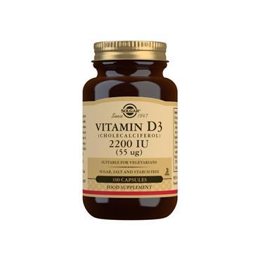 Solgar Vitamin D3 (Cholecalciferol) 2200IU  (55 µg) Capsules 100s