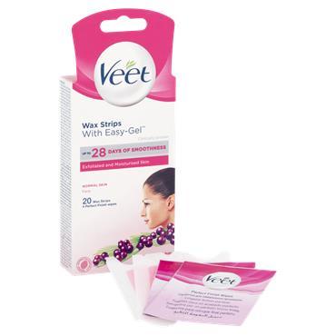 Veet Face Wax Strips Normal Skin With Easy-Gel 20 Wax Strips