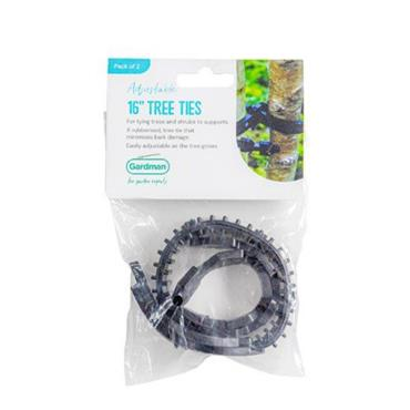 "GM Rubberised Tree Ties 16"" 2pk"