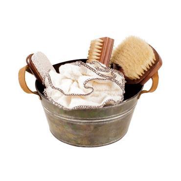 Zinc Bathtub with Leather Handles