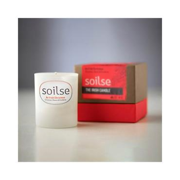 Soilse Gift Box Glass Candle -  An Irish Christmas  Cinnamon, Cloves and Cranberry