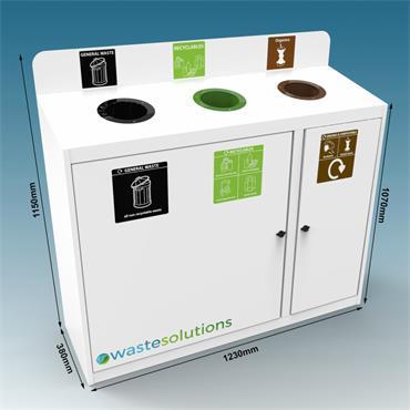 3 Way Metal Trinity Recycling Bin