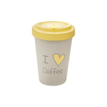 Bamboo Cup - I love Coffee Yellow