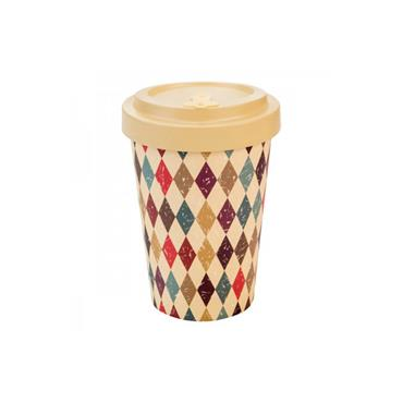 Bamboo Cup - Retro Diamonds Beige
