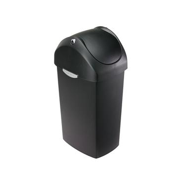 Simple Human 40 litre swing lid bin black plastic