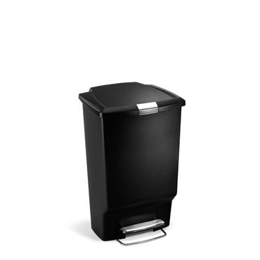 Simple Human Rectangle Black Plastic Pedal Bin - 45 Litres
