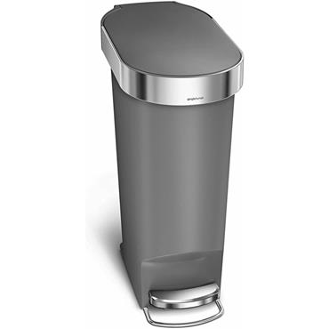 Slim pedal bin with bin liner Grey