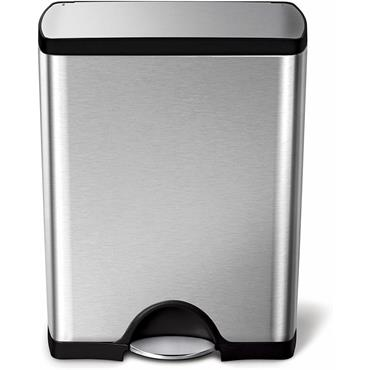 Rectangular Steel Bin 50L Pedal Operated Brushed Stainless Steel