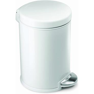 Simple Human Mini Round Pedal Bin with White Steel Finish, 3 Litre
