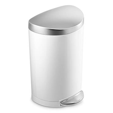 Simple Human 10 litre Bin -  White & Brushed Steel