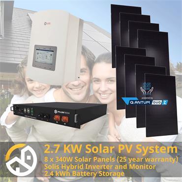 Eco Horizon Solar 2.7kW Solar PV System with 2.4kWh Battery Storage