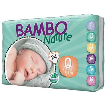 Bambo Nature Nappies Premature 24 Nappies Size 0 1-3 kg, 2-6 lbs