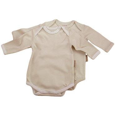 Organic Cotton Long-Sleeved Envelope Neck Bodysuit Chemical Free Twin pack