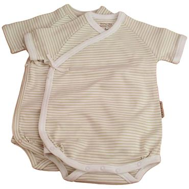 Organic Cotton Short-Sleeved Wrap-Style Bodysuits Chemical Free Twin pack