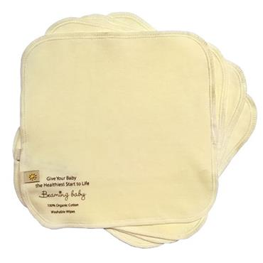 Beaming Baby Chemical-Free Organic Cotton Washable Baby Wipes Pack of 5 (20cm x 20cm)
