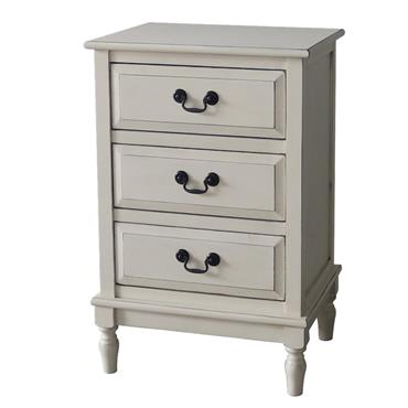 Home Inspirations Antique Cream Three Drawer Bedside Locker