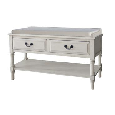 Home Inspirations Antique Grey Two Drawer Cushion Bench