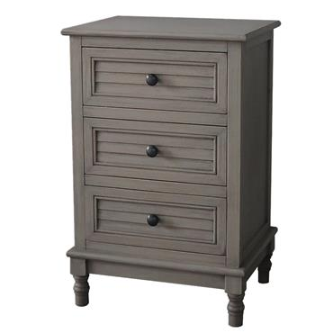 Home Inspirations Savannah Grey Three Drawer Bedside Locker