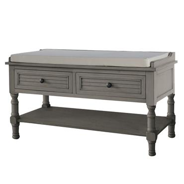 Home Inspirations Savannah Grey Two Drawer Cushion Bench