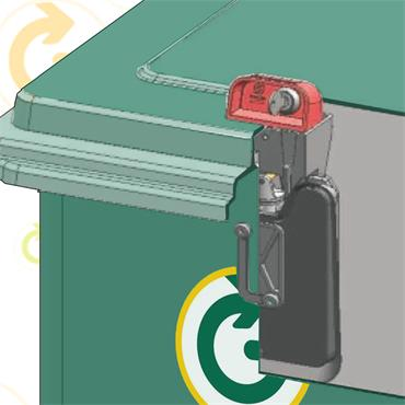Gravity Lock for Wheelie Bins