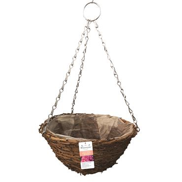 Blossom Rustic Hanging Basket Natural 14""