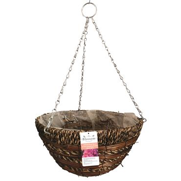 Blossom Sisal Rope & Fern Hanging Basket Natural 14""