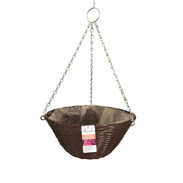 Blossom Rattan Effect Brown Hanging Basket 14""