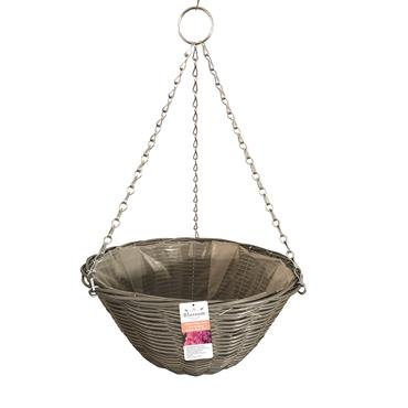 Blossom Rattan Effect Light Grey Hanging Basket 14""