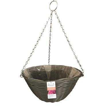 Blossom Rattan Effect Dark Grey Hanging Basket 14""