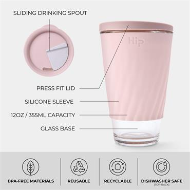 Hip Glass Cup - DUSTY PINK & CLOUD (12 oz)