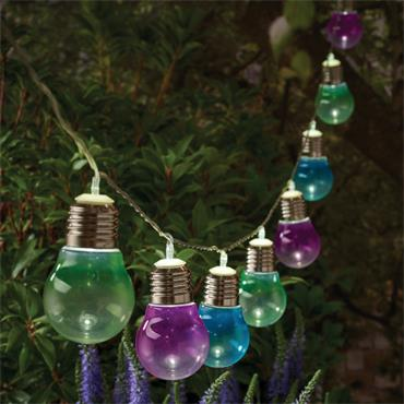 10 Solar Bulb String Lights - Coloured