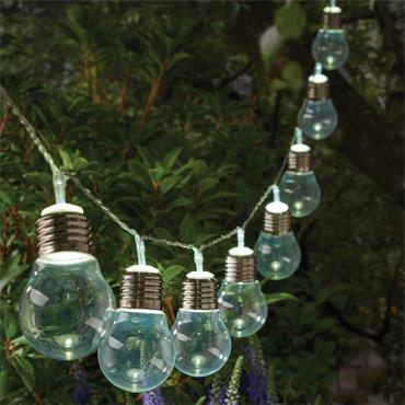 10 Solar Bulb String Lights - Clear