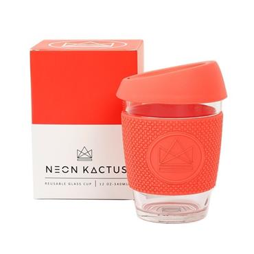 Reusable Glass Cup - DREAM BELIEVER CORAL  - 12oz/340ml