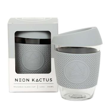 Reusable Glass Cup - FOREVER YOUNG GREY - 12oz/340ml