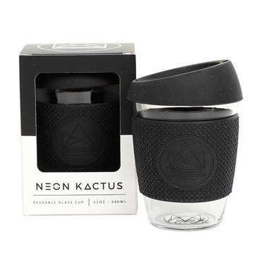 Neon Kactus Reusable Glass Cup - ROCK STAR BLACK - 12oz/340ml