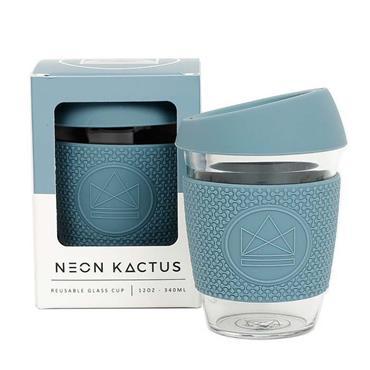 Neon Kactus Reusable Glass Cup - SUPER SONIC BLUE - 12oz/340ml