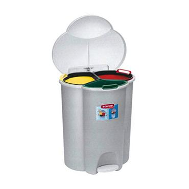 Trio Recycling Bin - 3 Section with footpedal