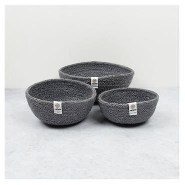 JUTE MINI BOWL SET GREY