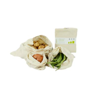 A slice of Green Organic Cotton Produce Bags - Variety Pack - Set of 3