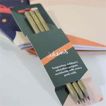 VENT for Change 'Ideas' Recycled Plastic Pencils - Gold - Pack of 3