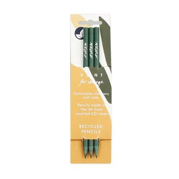 VENT for Change 'Notes' Recycled Plastic Pencils - Green - Pack of 3