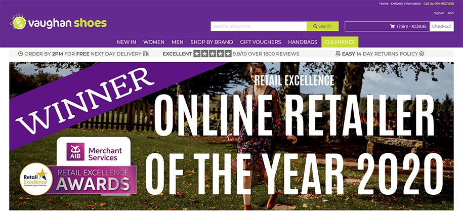 Vaughan Shoes - Winner Online Retailer of the Year 2020