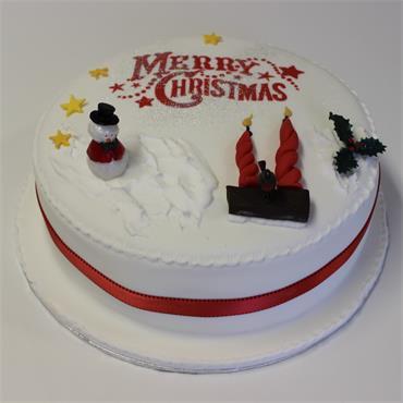 9 Inch Iced All Around Christmas Cake