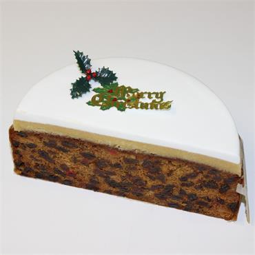 Half Christmas Cake Iced on top