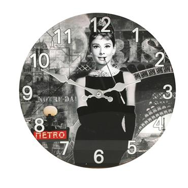 Audrey Hepburn Picture Glass Wall Clock