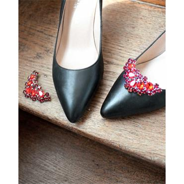 Alma Red Shoe Clips Gold