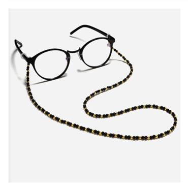 Black and Gold Beaded Glasses Chain
