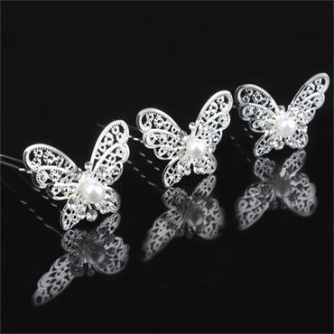 Butterfly Pearl & Crystal Silver Bridal Hair Pin