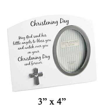 Christening Day Photo Frame with Silver Plated Cross Icon