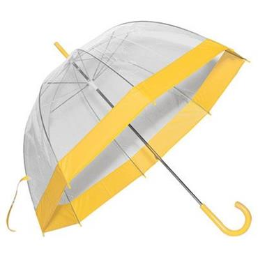 Clear Slim Yellow Trim Umbrella - Shipping to Ireland Only